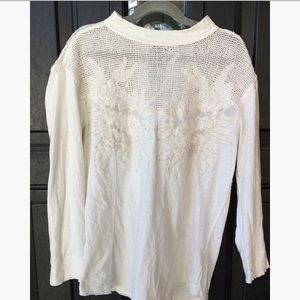 Free People Off-White Floral Knit Tunic